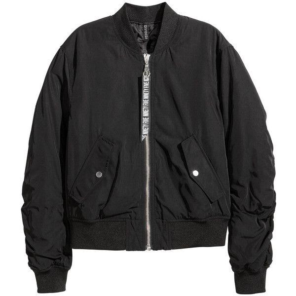 Bomber Jacket $39.99 ($40) ❤ liked on Polyvore featuring outerwear, jackets, flight jacket, blouson jacket, woven jacket, woven bomber jacket and flap jacket