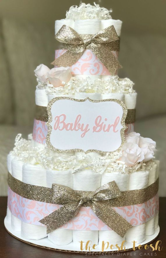 Pink And Gold Rose Diaper Cake Elegant Damask Girl By