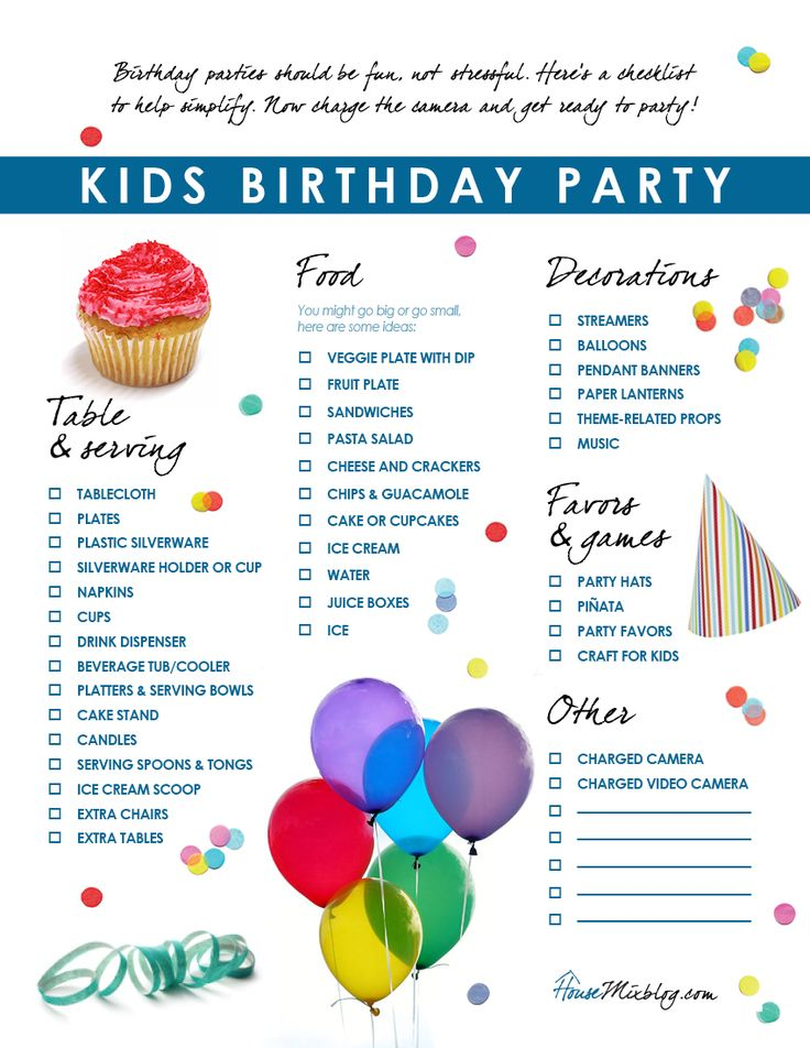 Kids Birthday Party Checklist | Birthdays, Birthday Party Ideas