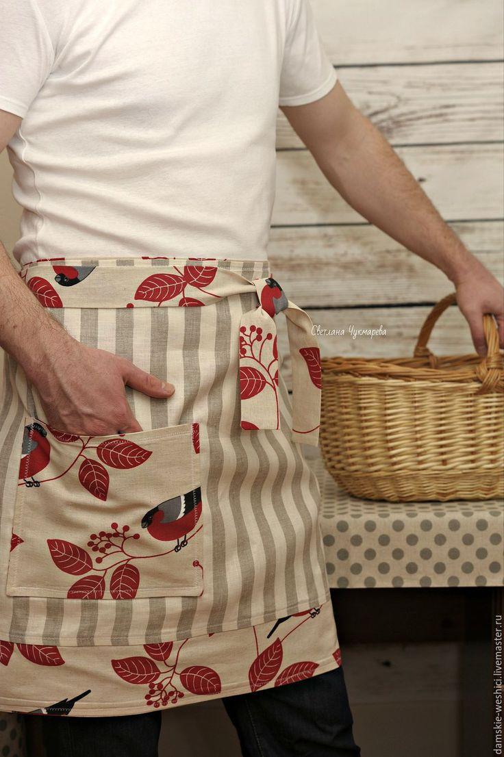 """Купить Фартук льняной мужской для кухни """"Снегири"""" двусторонний - ярко-красный, кухня, фартук"""