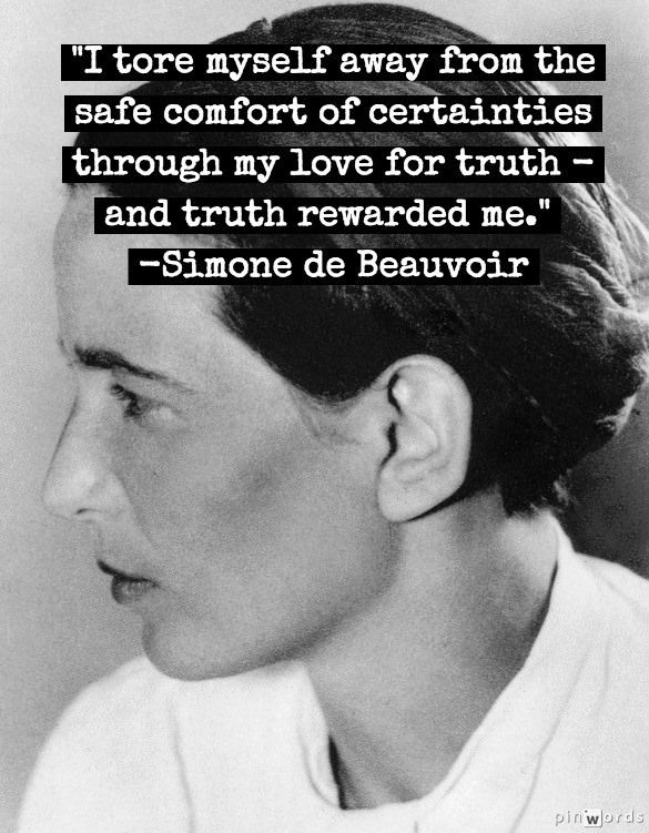 Simone de Beauvoir (1908 – 1986) was a French writer, intellectual, existentialist philosopher, political activist, feminist and social theorist.                                                                                                                                                      Más