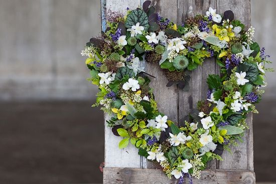 Euphoric Flowers heart shaped design for British Flowers Week 2014 using British Flowering Foliage such as cotinus, stachys byzantina, lavender, philadelphus, golden privet, poppy seed heads, buxus and the leaves of geranium, oak and heuchera at New Covent Garden Flower Market