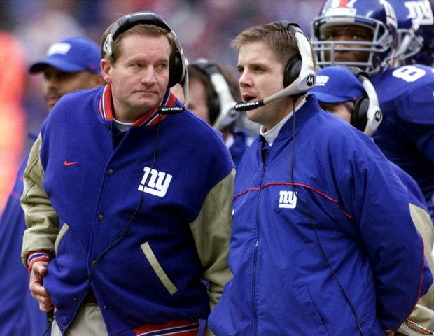 Sean Payton during his stint with the Giants with Jim Fassel, then head coach of the Giants