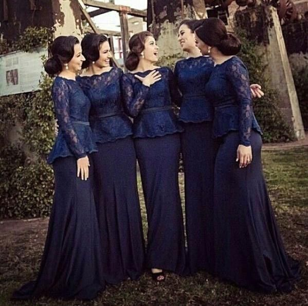 Vintage Navy Blue Bridesmaids Dresses Off Shoulder Peplum Sheath Women Lace Bridesmaid Gowns Convertible Dresses Long Sleeve Evening Dresses Jim Hjelm Bridesmaid Dresses Lemon Bridesmaid Dresses From Angelsbridep, $93.2| Dhgate.Com