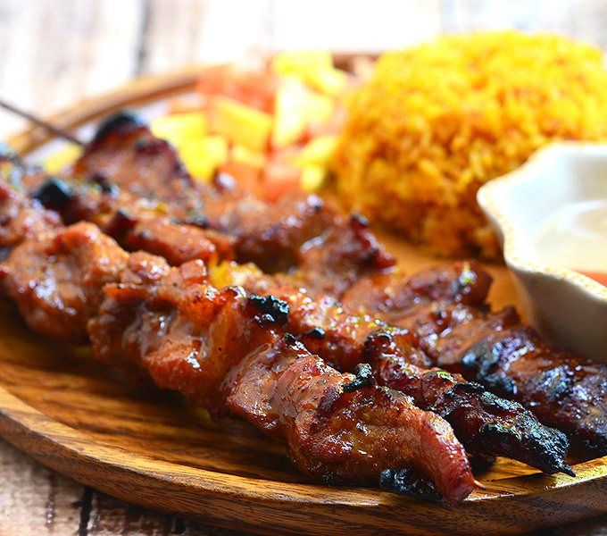 Barbecue Pork on a Stick are Filipino-style kebabs marinated in a sweet and spicy sauce