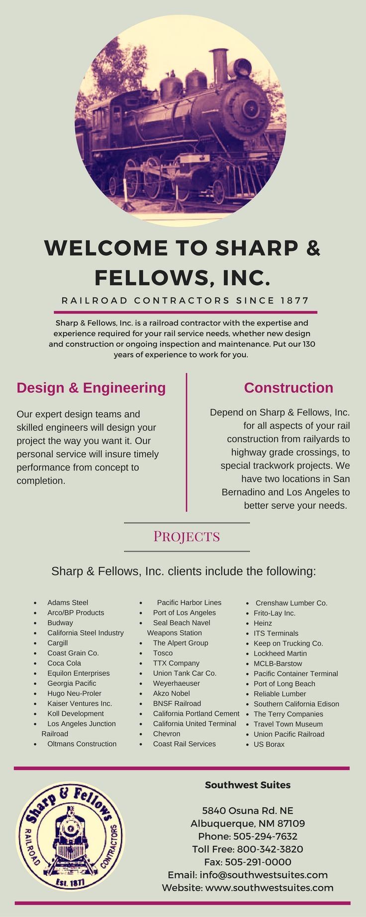 Sharp & Fellows, Inc. is a railroad contractor with the expertise and experience required for your rail service needs, whether new design and construction or ongoing inspection and maintenance.We provide Quality Services for Industry Track Owners and Railroads.To know more about our services like Santa Fe Springs Railroad Inspection visit us!