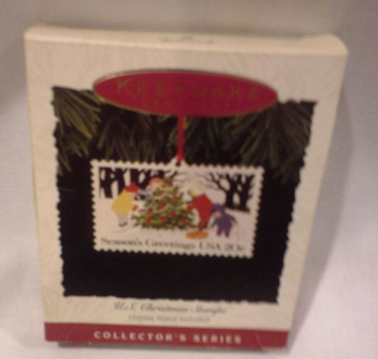 Vintage 1994 Hallmark - Enameled Copper US Christmas Stamp Ornament Free Shipg
