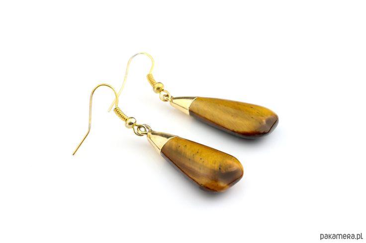 kolczyki - minerały-Brazi Earrings Tygrysie Oko wiszące w  złocie