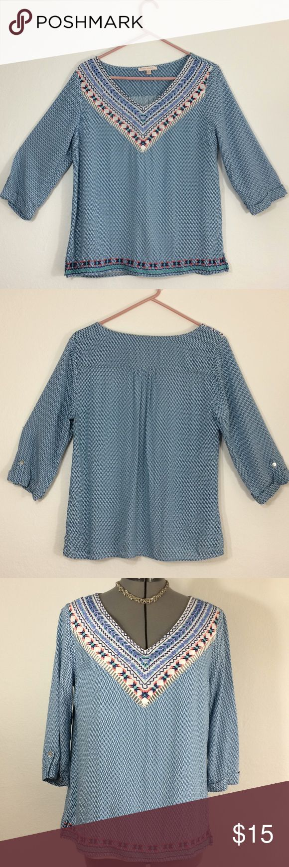 """Anthropologie Skies are Blue 1/2 sleeve blouse-L Lovely lightweight light blue print peasant blouse with front v neck tribal embroidery. 1/2 sleeve with button. Lining on inner front. Embroidery along front hem. Puckered between shoulder blades. Beautiful with skirt/shorts and a pair of sandals. """"Sister blouse"""" to another listing(white Anthropologie tank) Armpit to armpit 20"""" Sleeve 17"""" shoulder to hem 24"""" Shoulder across 15.5"""" Anthropologie Tops Blouses"""