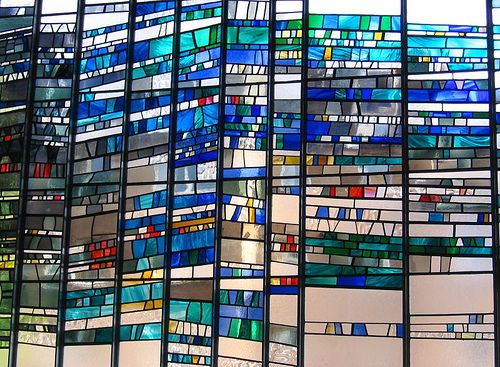 Modern stained glass windows may depict scenes or take on more abstract forms.