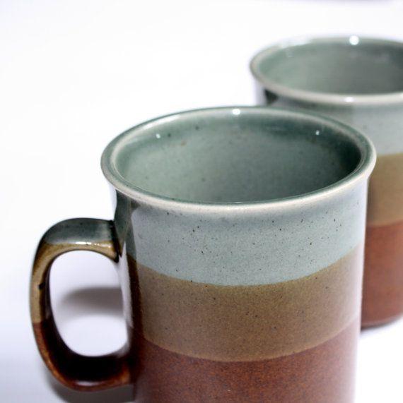 VINTAGE koffiemokken set bruin  servies retro door JorRainbow