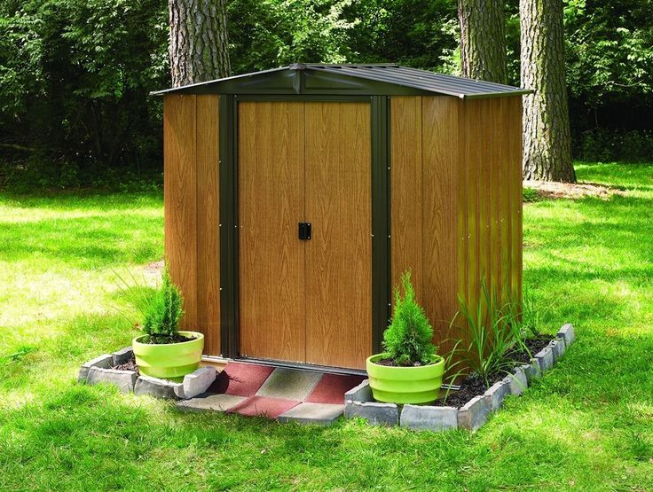 Arrow Woodlake 6'x5' Steel Storage Shed Natural Wood Grain Brown Color, Tool New #ArrowShed