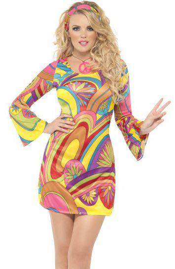 60-luvun hippityttö. Hippitytön naamiaisasussa voi parantaa maailmaa niin teemajuhlissa kuin synttäreillä, festareilla ja kaikissa muissakin värikästä menoa huokuvissa tapahtumissa!