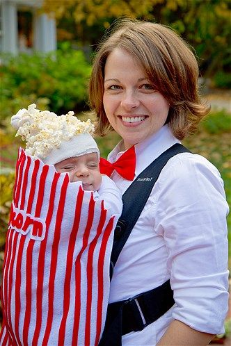 this is so cute, i had to repin it ~ even though my Baby-wearing days are over - ;) what a cute Halloween Costume idea for a new mom or dad who will be walking older siblings around for trick or treat!