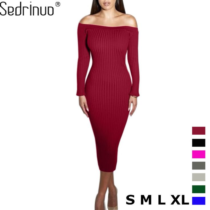 Fashion Long Sleeve Off Shoulder Slash Neck Sexy Club Women Dress Slim Bodycon Knitted Sweater Knee Length Party Night Dresses-in Dresses from Women's Clothing & Accessories on Aliexpress.com | Alibaba Group