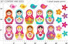 Russian nesting dolls - Illustrations & Cliparts - Matryoshka - Bright Colors - MYGRAFICO DIGITALS - Clipart, Digital Papers, Stamps & Party...