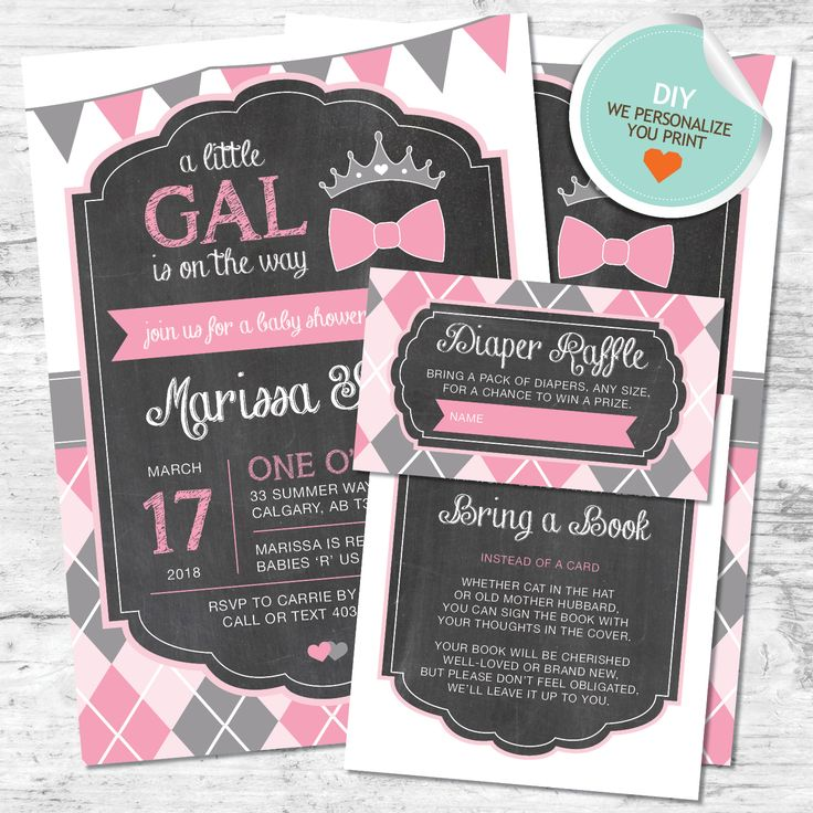 baby shower invitation wording for bringing diapers%0A DIY Little Gal Baby Shower Invitation    Pink  Gray  Flags  Argyle