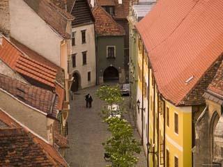 cobblestone street Sopron, Hungary