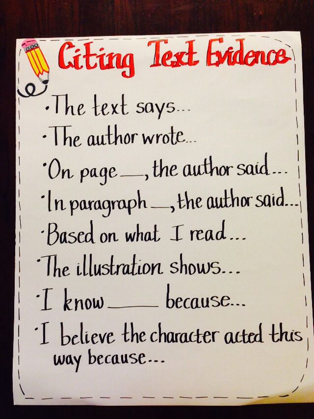 Citing evidence from text anchor chart for Common Core, 4th grade