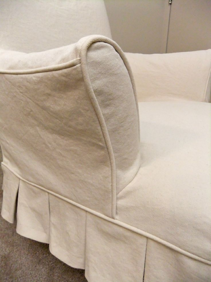 Pleated Slipcover In Natural Denim For Vintage Chair Decor Upholstery Pinterest Natural