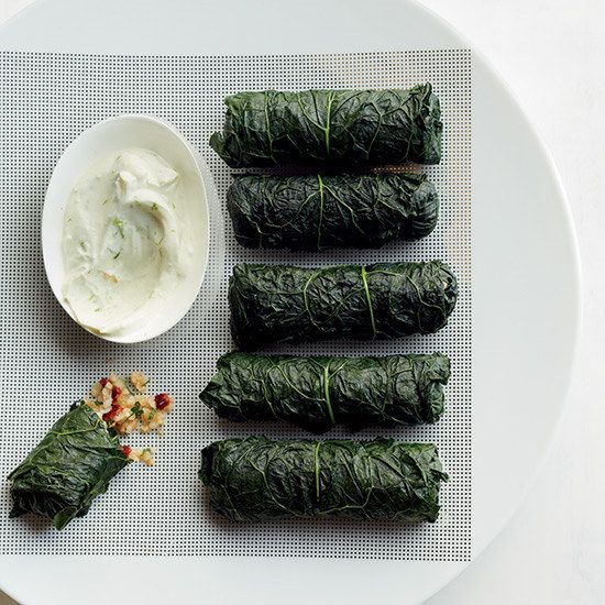 Stuffed Kale with Bulgar, Tabbouleh, and Lime-Yogurt Dip   19 Deliciously Stuffed Vegetables