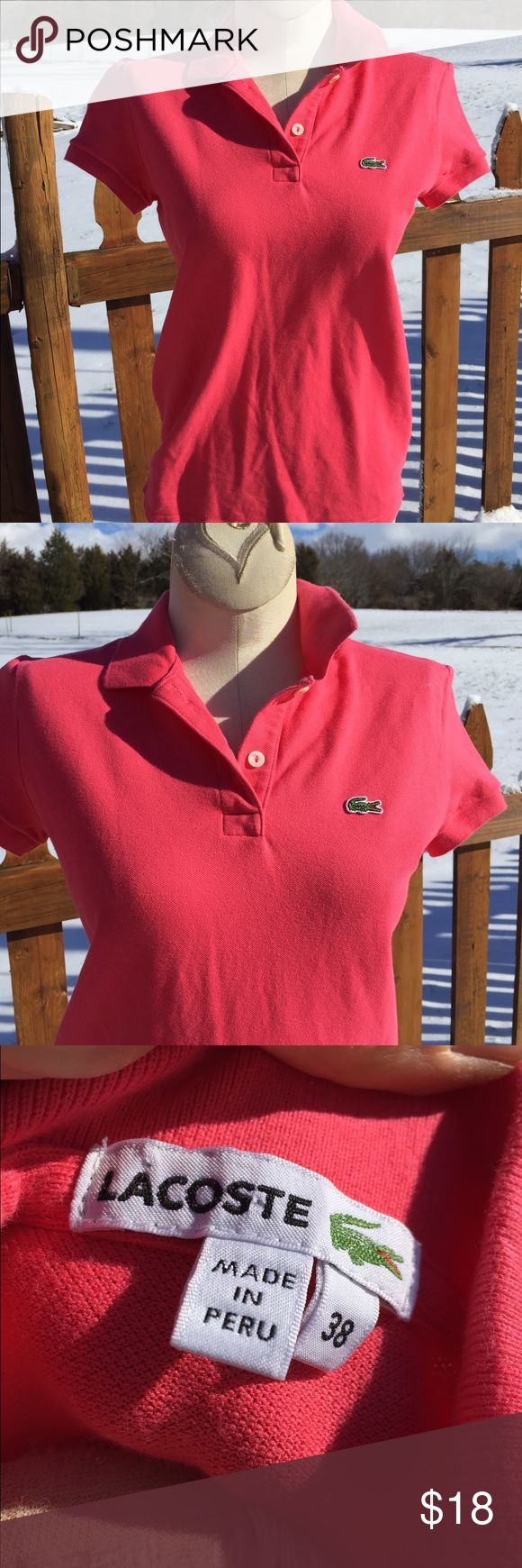 Lacoste Polo Shirt Size 38 Size 38. Super gently preowned. Be sure to view the other items in our closet. We offer both women's and Mens items in a variety of sizes. Bundle and save!! Thank you for viewing our item!! Lacoste Tops