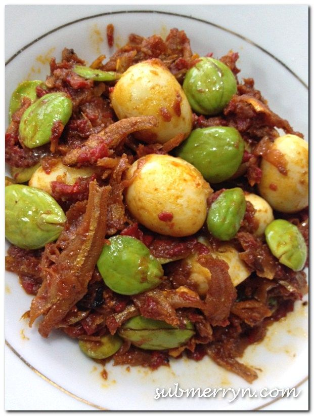 Sambal petai with fried anchovies