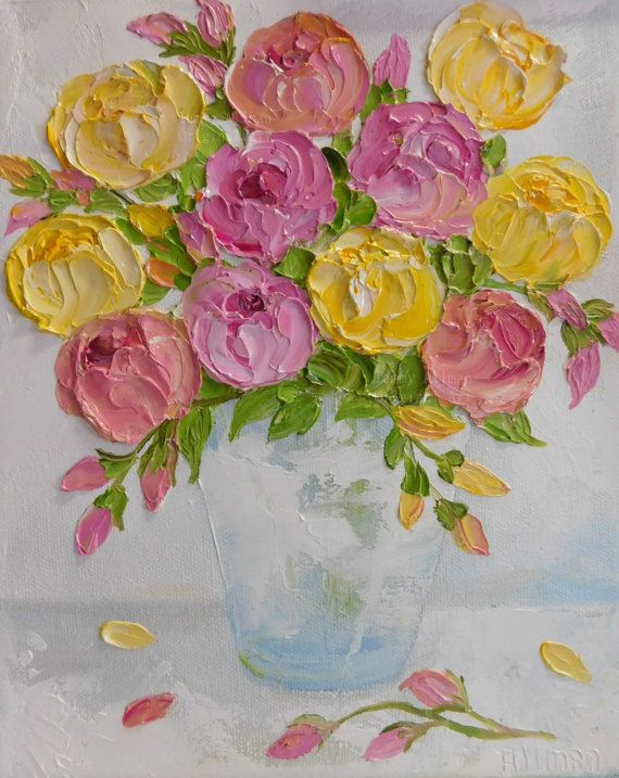 Oil Impasto Summer Roses Painting Rose Oil