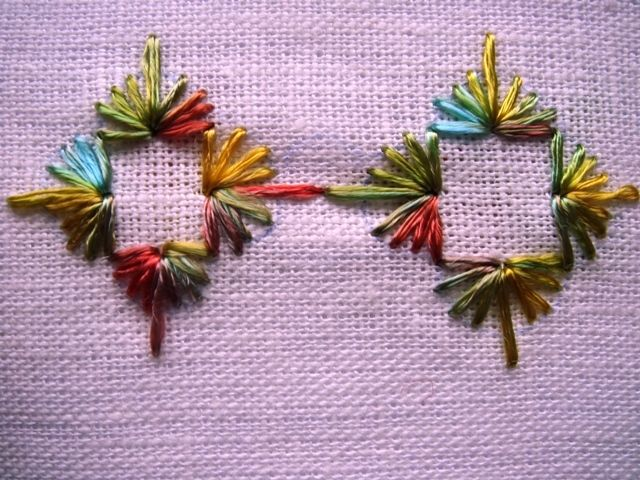 ALGERIAN STITCH ... an impressive adaptation of the Algerian Eye Stitch ! This is an image only pin - good inspiration. For tuts : http://www.embroidery.rocksea.org/stitch/straight-stitch/algerian-eye-stitch/