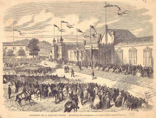 Exposition de la Ville de Limoges : distribution des récompenses aux exposants par le Prince Napoléon, 1858 - Bfm Limoges http://www.bn-limousin.fr/items/show/2985