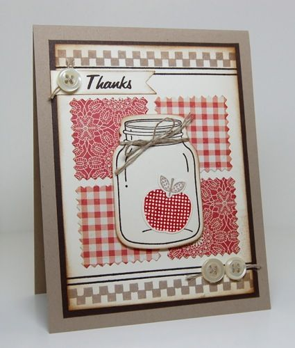"""Country ~ I like the idea of using different background stamps in 1 color and then the """"inside"""" stamp of the same color. Cute! ~KB"""