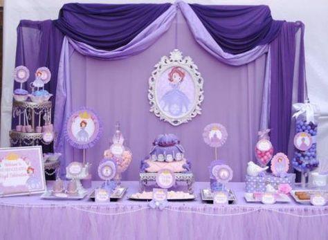 festa roxa simples princesa Sofia