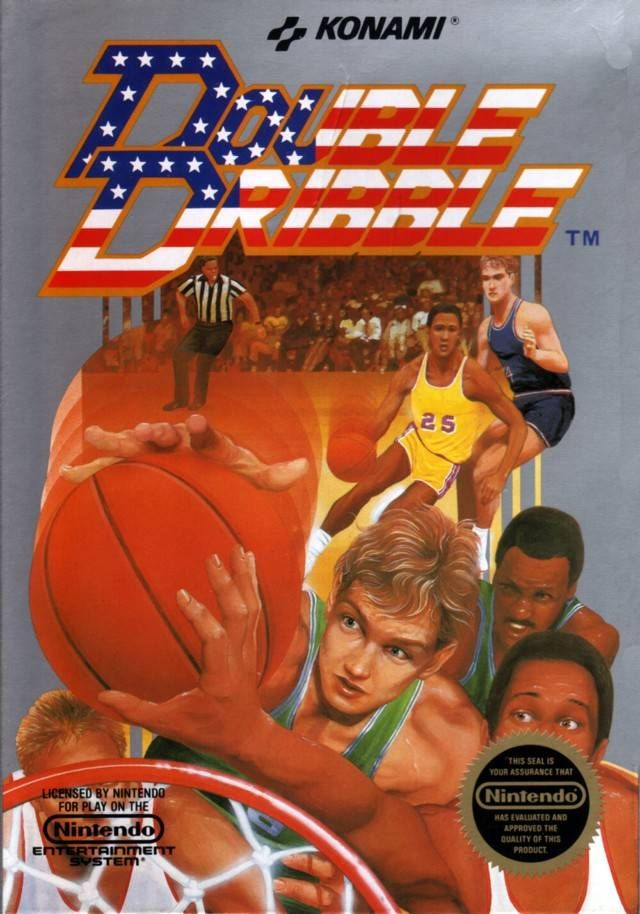 """Box art for """"Double Dribble,"""" an arcade basketball game for the Nintendo Entertainment System and PCs released by Konami in 1987"""