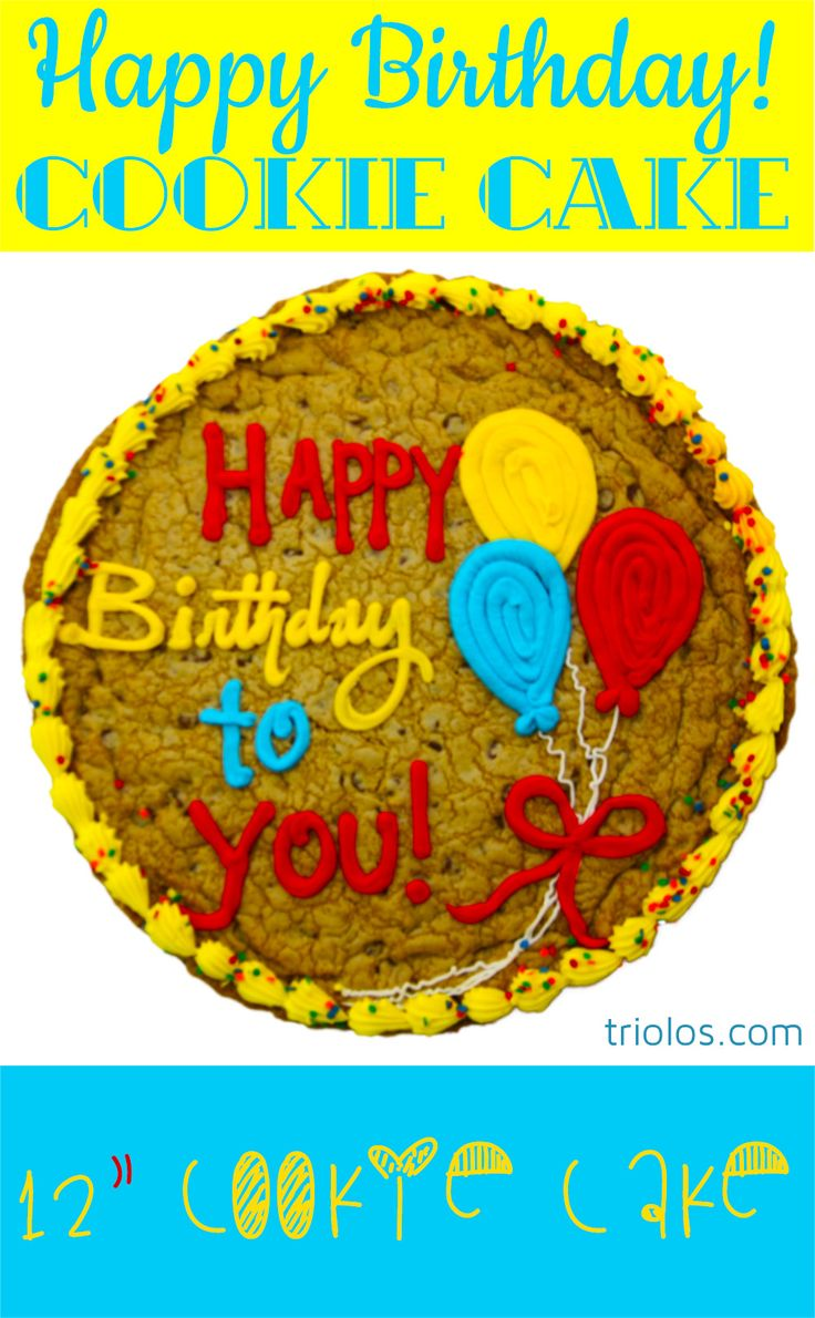 """Say """"Happy Birthday"""" with this delicious Cookie Cake. We took our classic Chocolate Chip Cookie and made it bigger, better, and cake-ier. This 12″ Cookie Cake makes for a gourmet and sizable gift."""