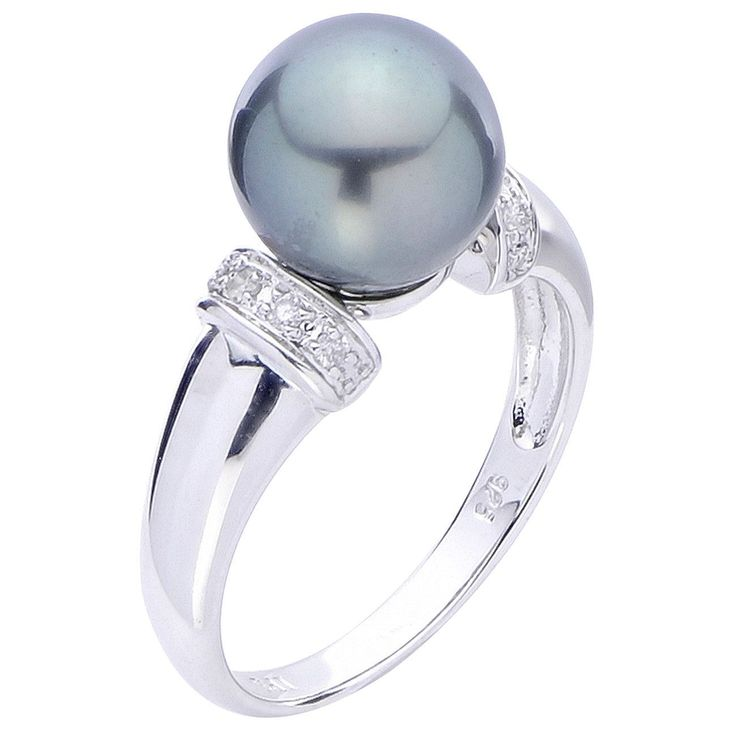 11mm Tahitian Pearl & Diamond Ring in Sterling SIlver