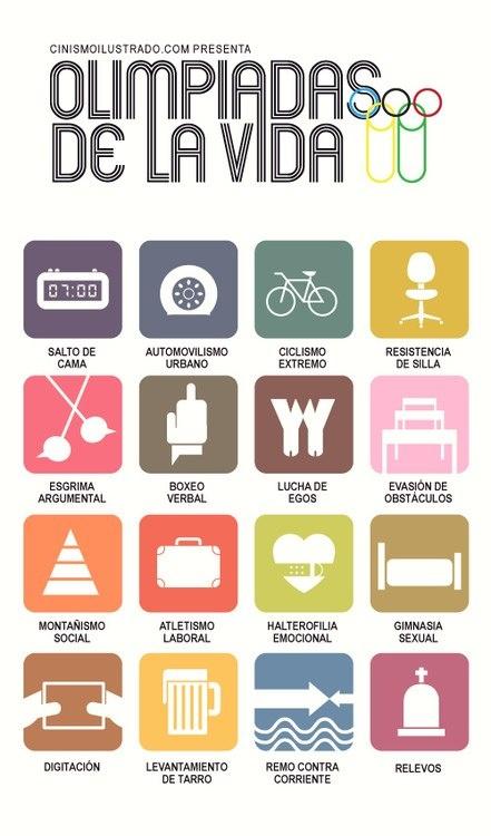 Olimpiadas de la Vida: Las Olimpiadas, Life, Stuff, Of The, Humor, Phrases, Infographic