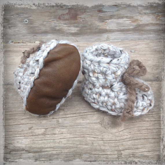 Crochet Baby Booties with Leather Soles on Etsy, $25.00 CAD