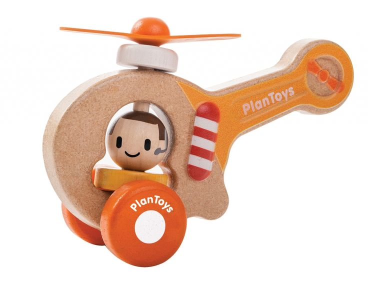 Plan Toys - Drewniany pojazd helikopter