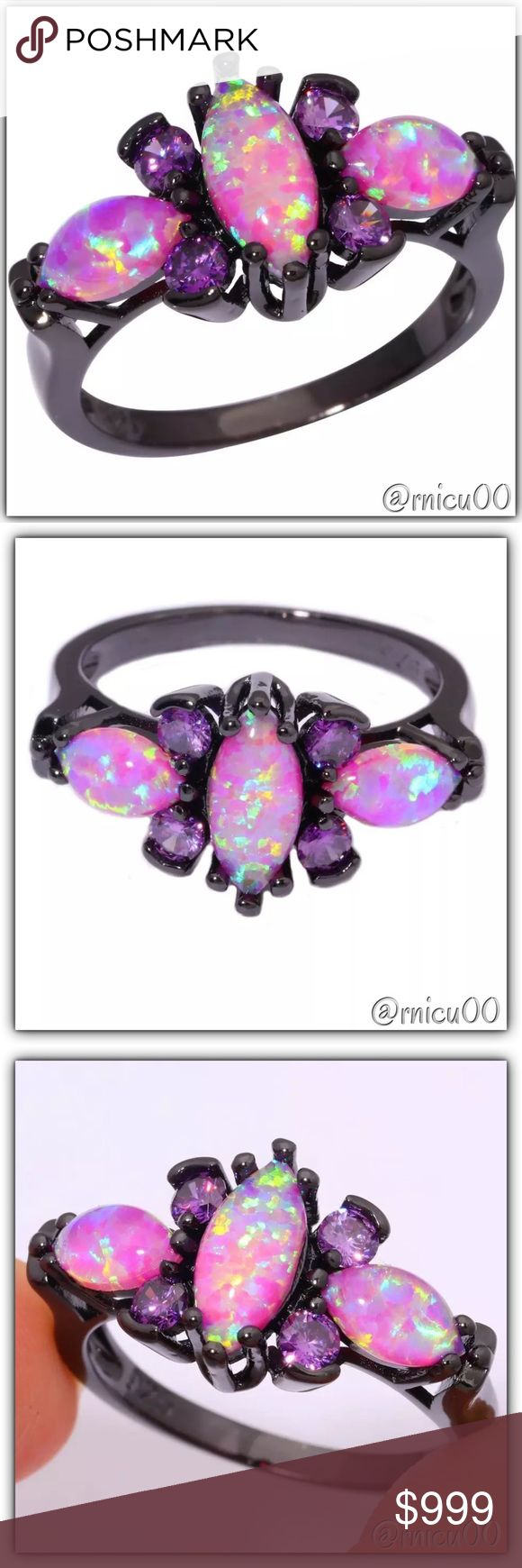 Coming Soon-Pink Fire Opal Amethyst & Black Gold! Coming Soon! Boutique Jewelry Rings