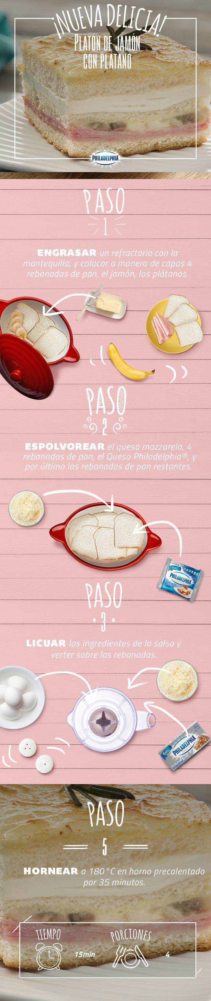Sal de la rutina con esta deliciosa receta que te dejará con la boca abierta.   #Jamón #Platano #Pan #Mozzarela #QuesoPhiladelphia #Queso