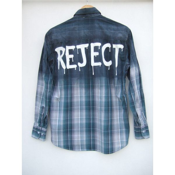 Reject Dripping Grey Green Plaid Michael Clifford 5SOS Inspired Ombre... (37 AUD) ❤ liked on Polyvore