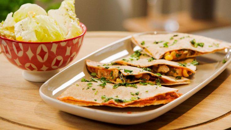 Quesadilla's met kip, paprika, mais, spinazie en kaas   | VTM Koken