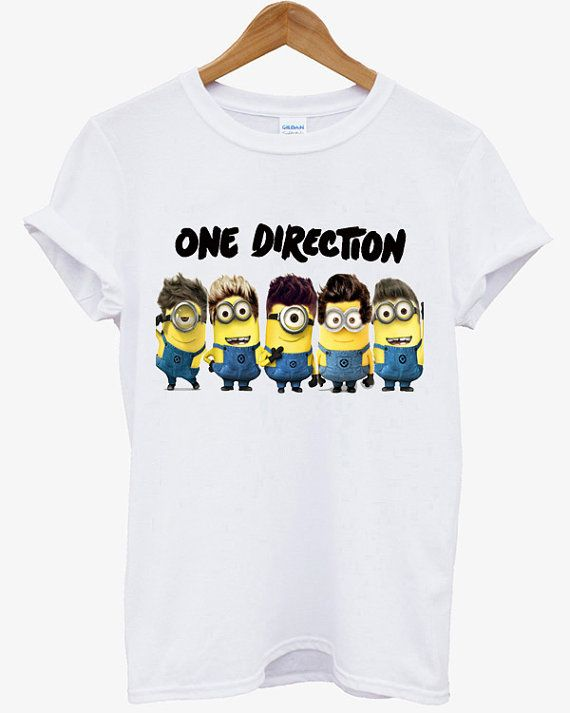 New Minion One Direction 1D Despicable Me 2 Funny Minion Men Black White T Shirt - D06