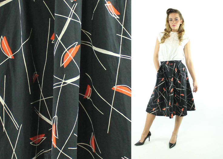$72, Vintage 50s Atomic Print Skirt Full High Waisted Mid Century Novelty Black Orange 1950s XS X-Small Pinup Rockabilly by ScarletFury on Etsy