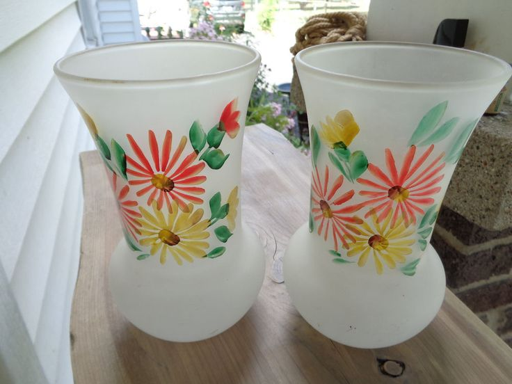 Vintage Federal Glass Satin Hand Painted Gay Fad Floral Vases #1950s