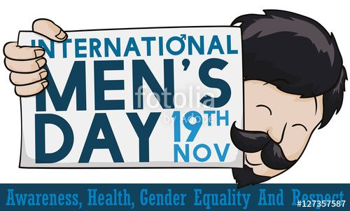 Vector: Happy Man Holding a Greeting Sign for International Men's Day, Vector Illustration