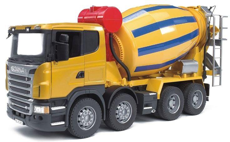 Mix het cement snel en soepel in deze cement mixer truck van Scania.   Afmeting: volgt later.. - Scania R cement mixer truck Bruder