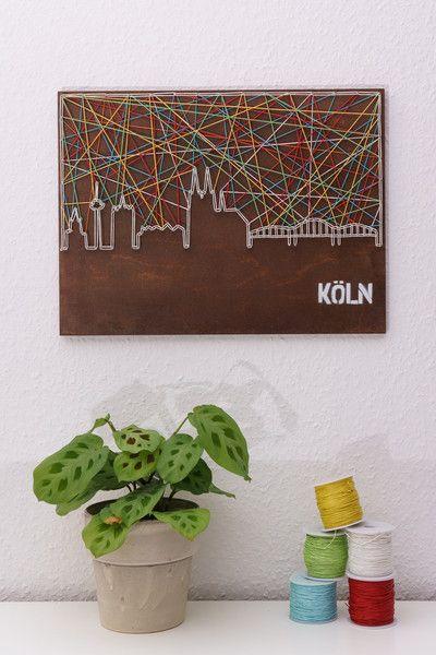 Wanddeko - Fadenbild der Skyline von Köln - ein Designerstück von schnuerstueck bei DaWanda