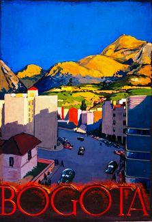 Afiche de Bogotá, Colombia, avenida Jiménez, años 40's.