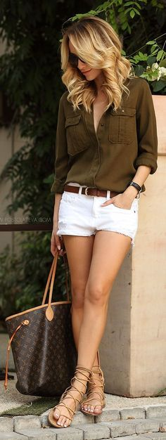 For lunch with friends, try a button-up shirt with white jean shorts—accessorize with a timeless belt.